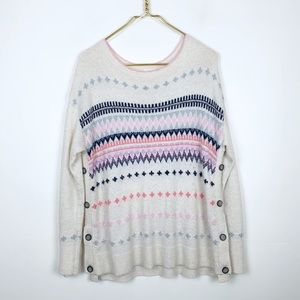 Caslon Button Detailed Printed Oversized Sweater